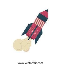 rocket launch on white background