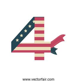 number 4 with the flag of united states on white background
