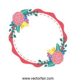 flowers and leafs decorative circular frame