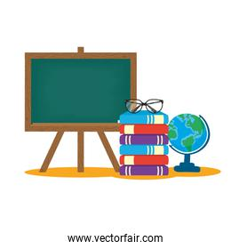 isolated school chalkboard with books and world map