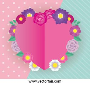 flowers and leafs decorative heart frame