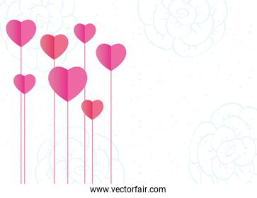 hearts love garden isolated icons