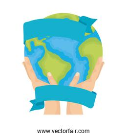hands lifting world planet earth ecology