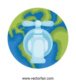 earth planet with water tap