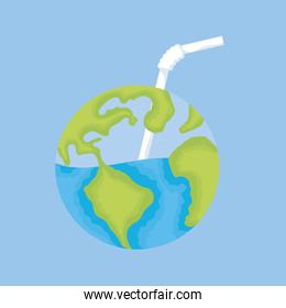 earth planet with water and straw