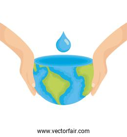 hands lifting earth planet water day