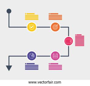 business infographic with circular icons