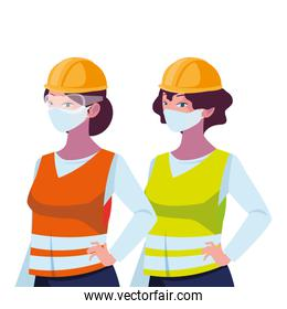 industrial women workers with face masks