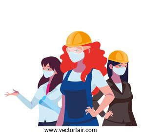 female industrial workers working with face masks