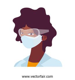 industrial worker woman wearing face mask