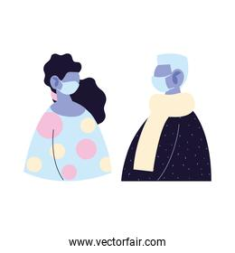 old man and woman avatar cartoon with mask vector design
