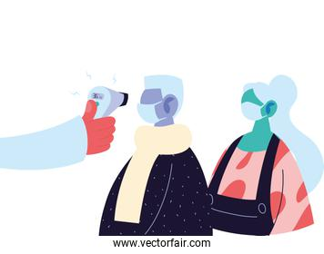 Hand holding thermometer gun checking old man and woman temperature vector design