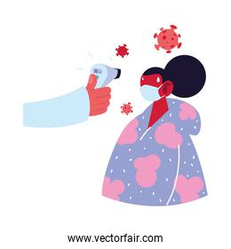 Hand holding thermometer gun checking woman temperature vector design