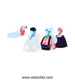 Hand holding thermometer gun checking people temperature vector design