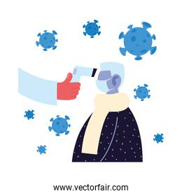Hand holding thermometer gun checking old man temperature vector design