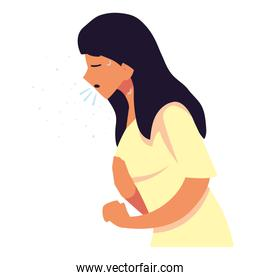 Woman with dry cough feeling sick vector design