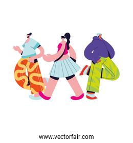 Urban people with casual cloth vector design