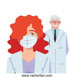 Old man and woman doctor with uniforms and mask vector design