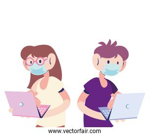 couple with mask working on the computer
