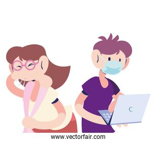 doctor with mask treating sick