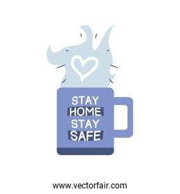 stay at home campaign with a cup of coffee