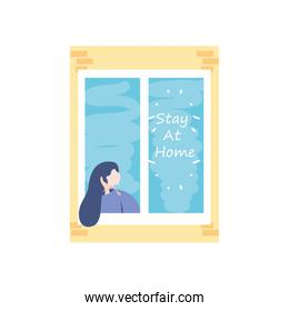 stay at home campaign, woman in the house window