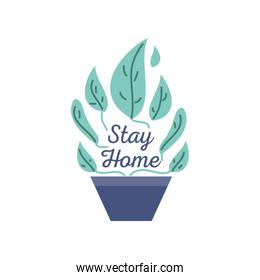 stay at home campaign with houseplant