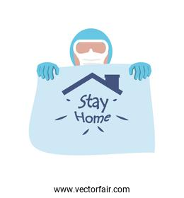 stay at home campaign, woman wearing a face mask