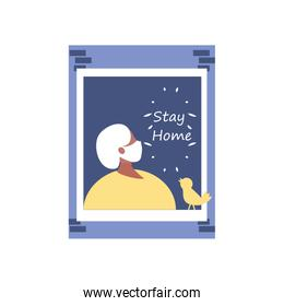 stay at home campaign, elderly woman in the house window