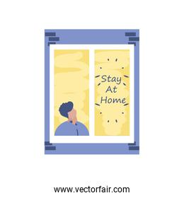 stay at home campaign, man in the house window