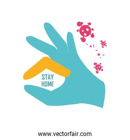 stay at home campaign with a hand