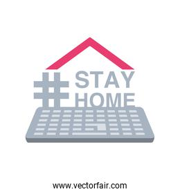stay at home campaign with keyboard