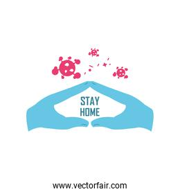 stay home campaign with hands, coronavirus prevention