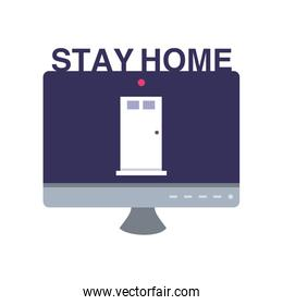 stay at home campaign with computer screen