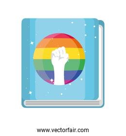 gay pride book on white background