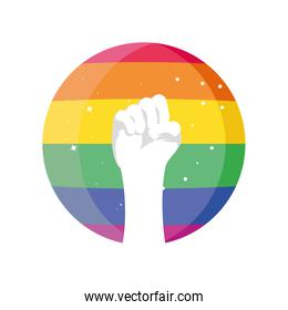 gay pride fight hand on white background