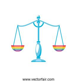 gay pride justice scale on white background