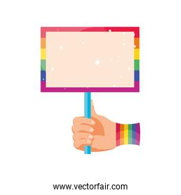 hand with gay pride notice on white background