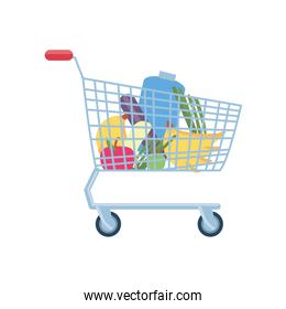 shopping cart with fruits and vegetables on white background