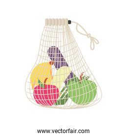shopping bag with fruits and vegetables on white background