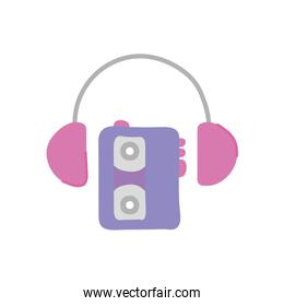 cassette player and headphones icon, flat style