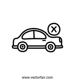 prohibited by car symbol, car with cross icon, line style
