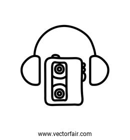 cassette player and headphones icon, line style
