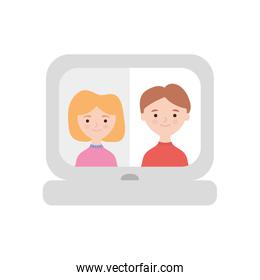 stay at home concept, laptop computer with family video call, flat style