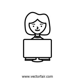 stay at home concept, cartoon woman using a computer icon, line style