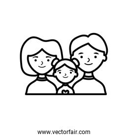 cartoon happy family with little girl, line style