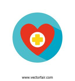 stop the spread concept, heart with medical cross icon, block flat style