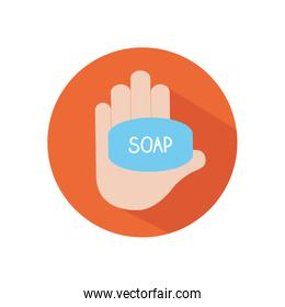 hand with soap bar icon, block flat style
