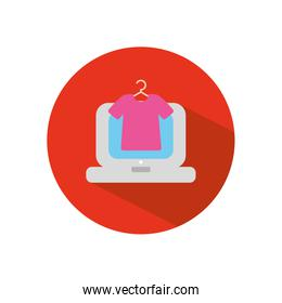 laptop computer and hanger with tshirt icon, block flat style