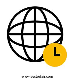 global sphere and time clock icon, half color half line style